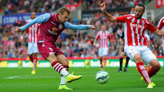 Stoke's Mark Wilson can do little as Andreas Weimann of Aston Villa scores at the Britannia Stadium