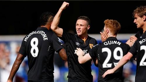 Hull's James Chester celebrates his goal against Queens Park Rangers at Loftus Road