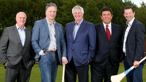 Lovely hurling: Michael Lyster and Des Cahill with members of RTÉ's The Sunday Game team