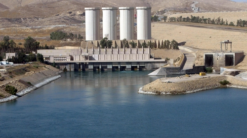 The dam on the southern shores of Mosul lake provides electricity to much of the region
