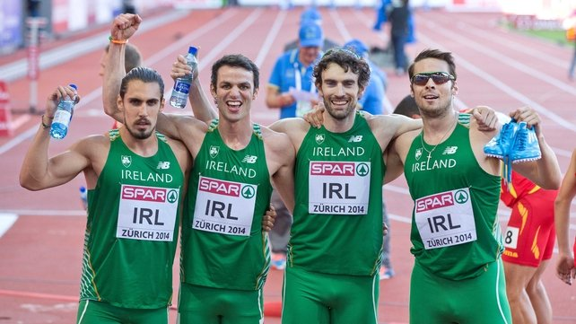 Ireland's Richard Morrissey, Thomas Barr, Brian Murphy and Brian Gregan celebrate setting a national record and qualifying for tomorrows 400m relay final