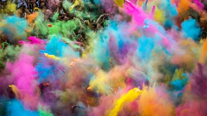Participants enjoy a colour party in northern Budapest, Hungary