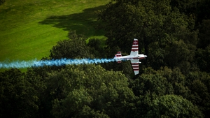 Paul Bonhomme of Great Britain competes in the Super 8 master event during the Red Bull Air Race