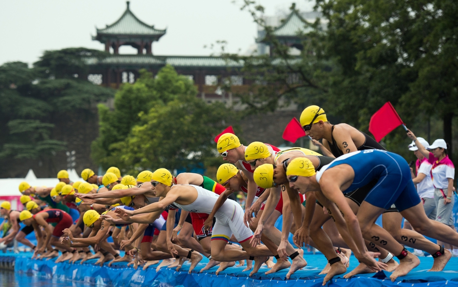 Athletes compete in the men's triathlon at the 2014 Youth Olympic Games in Nanjing, China