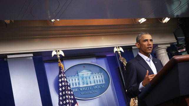 US President Barack Obama makes a statement in the James Brady Press Briefing Room of the White House