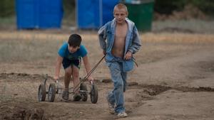 Children from eastern Ukraine, play in a refugee camp near Donetsk