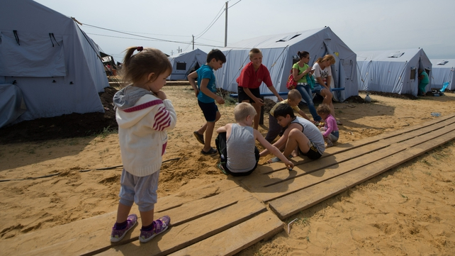 A refugee camp near the Russian city of Donetsk
