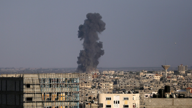Palestinian security officials said the air raids targeted open areas in the northern area of Beit Lahiya