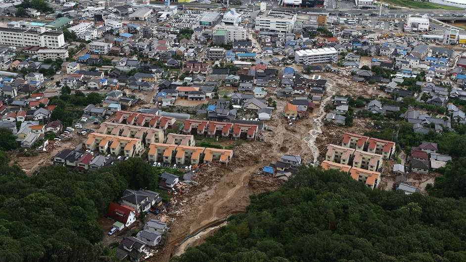 A landslide after heavy rains hit the city of Hiroshima, western Japan