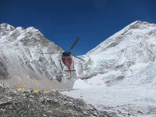 Helicopter above the icefall