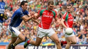 Anthony Maher and Aidan O'Shea battle for possession during the last championship meeting between Kerry and Mayo in the 2011 All-Ireland semi-final