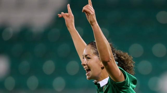 Fiona O'Sullivan celebrates the second goal for Ireland