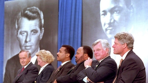 Bill Clinton, Ted Kennedy, Martin Luther King III, Dexter Scott King, Ethel Kennedy and  Albert Reynolds at groundbreaking ceremony in 1994 at the Martin Luther King Jr Memorial Park