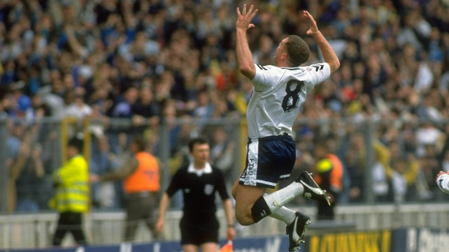 Paul Gascoigne in his heyday with Tottenham Hotspur in the 1991 FA Cup semi-final against Arsenal