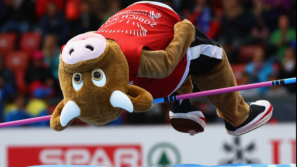 European Athletics Championships mascot Cooly, touted as 'the cool cow' by the event's marketing men, gets in on the action in Zurich