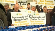 Nine News: Farmers stage cattle prices protest outside Tesco store in Naas