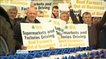 Farmers stage cattle prices protest outside Tesco store in Naas