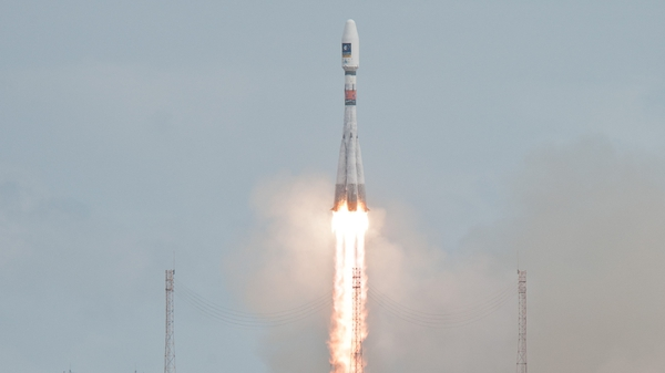 The Soyuz rocket carrying the fifth and sixth Galileo satellites is launched from French Guiana