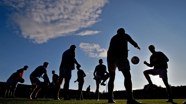Cork City players warm up ahead of the clash with Bohs
