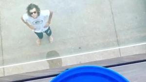 Harry bracing himself ahead of his balcony Ice Bucket Challenge drop. Source: Instagram