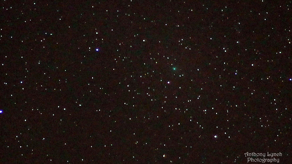 Comet Jacques - green dot in picture  55,214 million miles away (Pic: Anthony Lynch)
