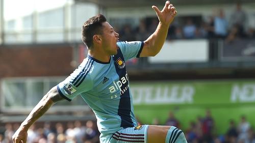Mauro Zarate of West Ham United celebrates his goal