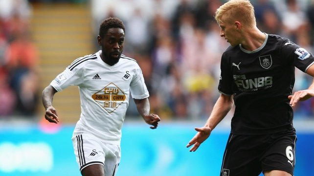Nathan Dyer (left) put Swansea ahead midway through the first half