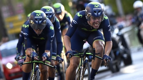 Movistar won the team time trial first stage