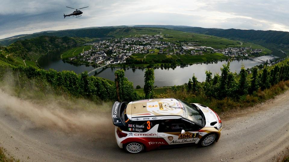 Kris Meeke and Paul Nagle compete in their Citroen Total Abu Dhabi WRT Citroen DS3 WRC during the WRC German Rally