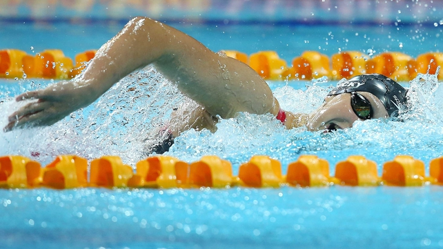 Katie Ledecky took six seconds off the women's 1500m freestyle world record on Sunday