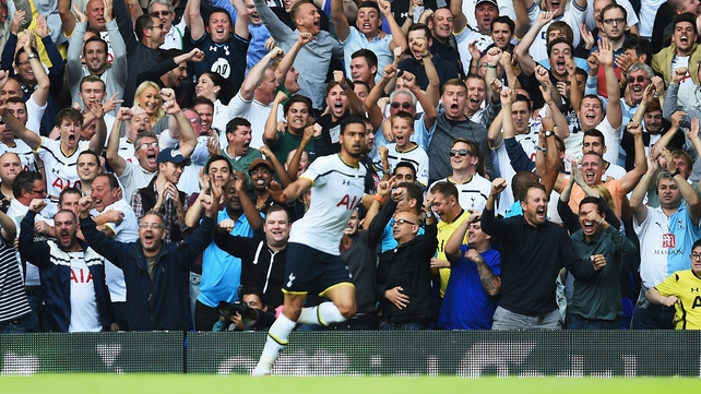 Nacer Chadli of Spurs scored two goals in the first half