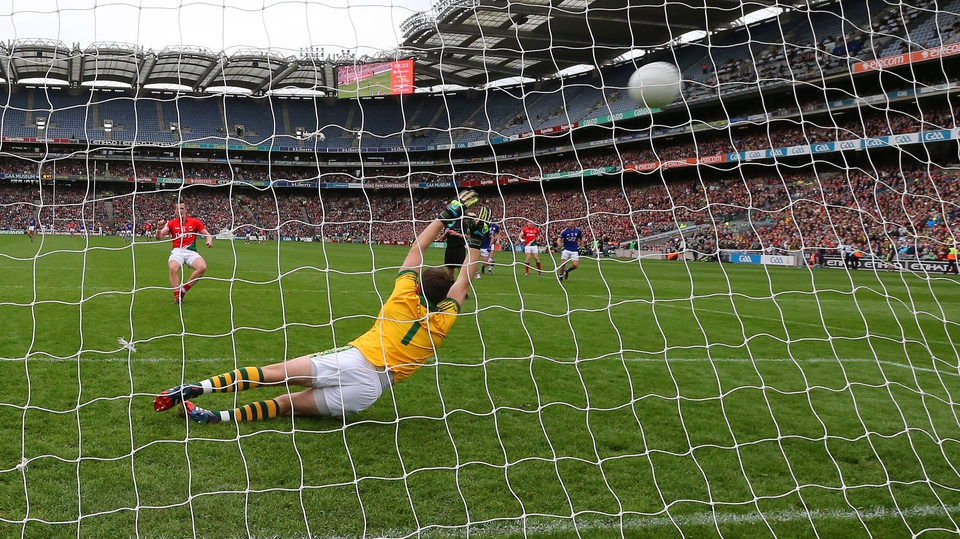 Cillian O'Connor smashes a penalty home for Mayo