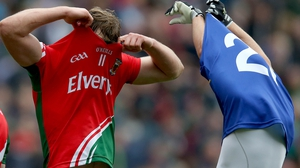 Mayo's Aidan O'Shea and Barry John Keane of Kerry swap jerseys at the end of the game
