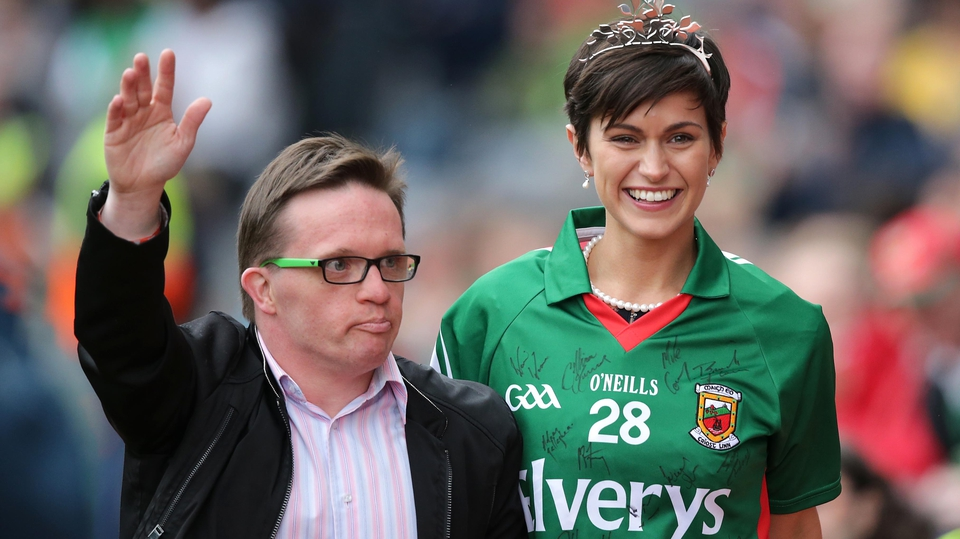 Michael Gannon (Down Syndrome Ireland Ambassador) and Rose of Tralee 2014, Philadelphia's Maria Walsh, were in attendance at the Mayo v Kerry game