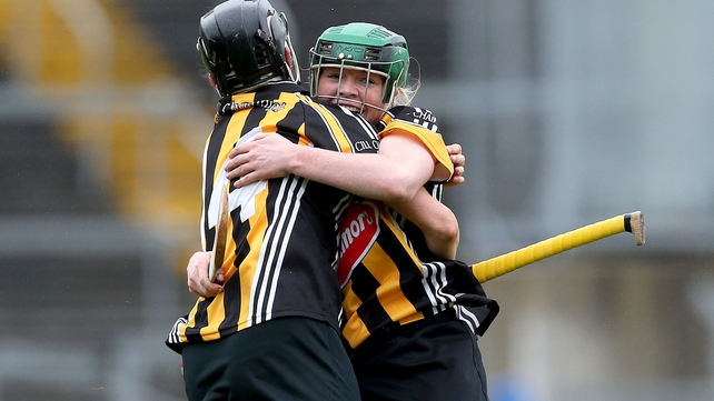 Kilkenny's Katie Power and Shelly Farrell celebrate at the final whistle