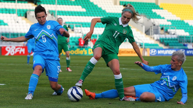 Julie Ann Russell in action for Ireland  at Tallaght Stadium