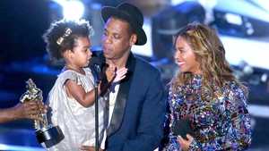 Jay Z, his little girl Blue Ivy and wife Beyoncé