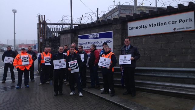 Drivers protesting outside Connolly Station this morning