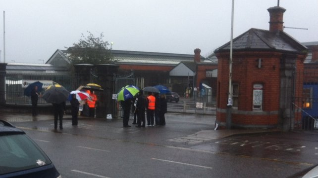 Iarnród Éireann employees protest against pay cuts at Kent station in Cork