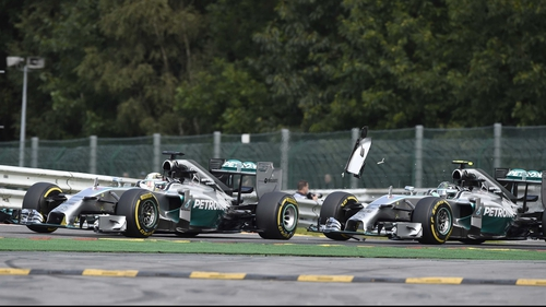 Lewis Hamilton has questioned the FIA's decision not to investigate the collision with team-mate Nico Rosberg at the Belgian Grand Prix