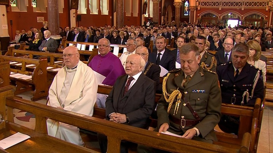 President Michael D Higgins led the mourners