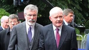 Sinn Féin's Gerry Adams and Martin McGuinness outside the Sacred Heart Church in Donnybrook
