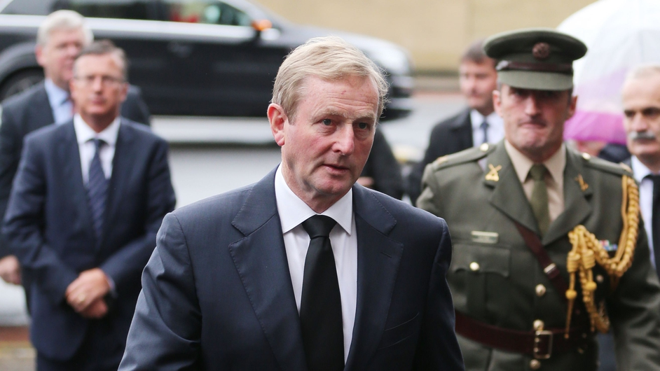 Taoiseach Enda Kenny arrives at the funeral in Donnybrook