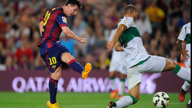Lionel Messi helped Barcelona to a 3-0 win at the Camp Nou