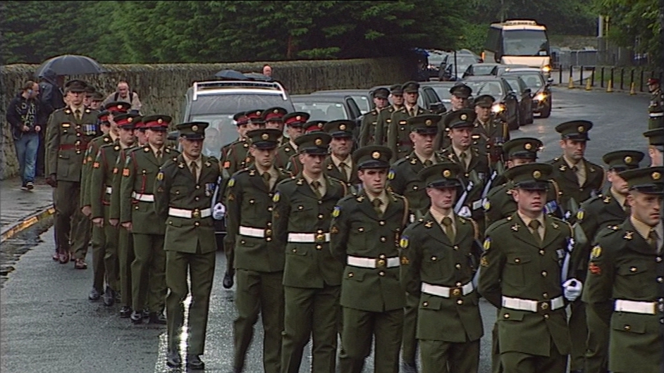 The funeral cortège on its way to Shanganagh Cemetery