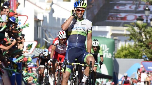 Australian rider Michael Matthews of Orica GreenEdge celebrates his stage win