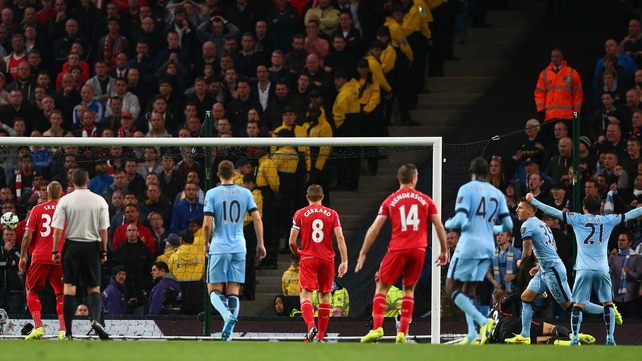 Stevan Jovetic put Manchester City ahead just before the break