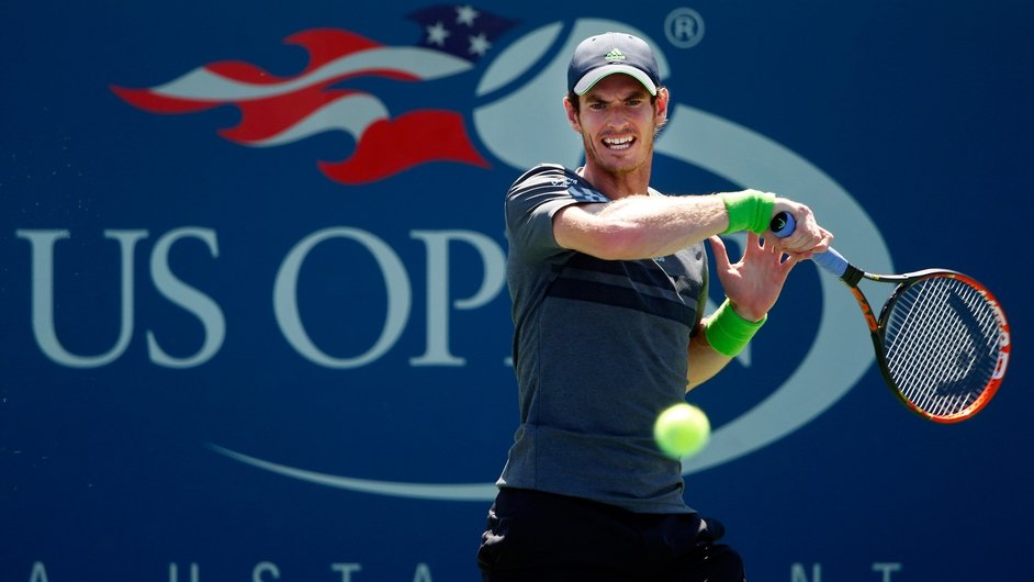 Andy Murray returns a shot against Robin Haase of the Netherlands on Day One of the 2014 US Open