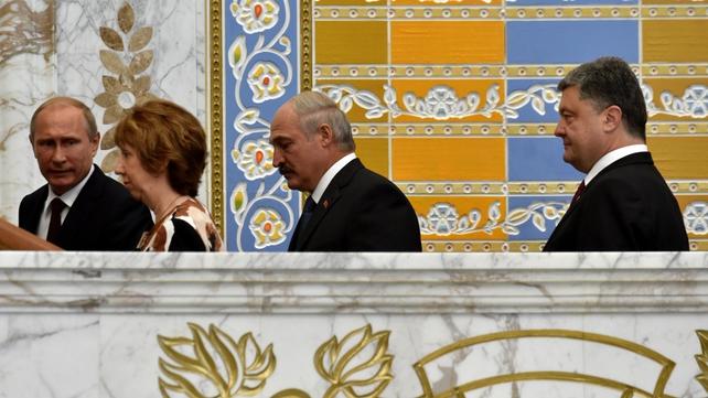 Vladimir Putin Catherine Ashton, Alexander Lukashenko and Petro Poroshenko at talks in Minsk