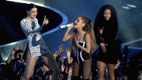 Jessie J, Ariana Grande and Nicki Minah perform Bang Bang at the 2014 Video Music Awards